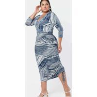 Vestido Almaria Plus Size Pianeta Midi Justo Malha