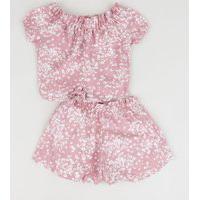 Conjunto Infantil Estampado Floral De Blusa + Short Rosa Claro