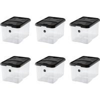 Kit Com 6 Caixas Organizadoras Plus Preto 22 L