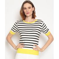 Blusa Listrada - Branca & Preta - Wool Linewool Line
