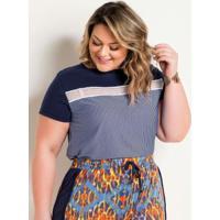 Blusa Listrada Plus Size Com Aplique