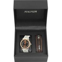 ade0bcb6dc5 ... Kit Relógio Magnum Masculino - Masculino-Prata+Marrom