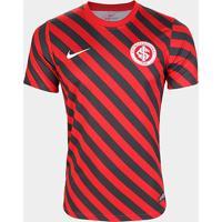 Camisa Internacional Pré Jogo 19/20 Nike Masculina - Masculino-Preto+Vermelho