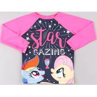 Blusa De Praia Infantil Raglan My Little Pony Manga Longa Com Proteção Uv50+ Rosa Neon