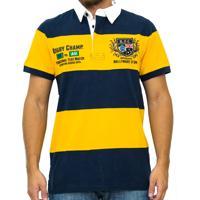 Polo Kevingston Hard Rugby Manga Curta Listrada Amarela