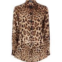 Dolce & Gabbana Blusa Com Estampa De Leopardo - Marrom