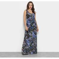 ba22039c4f ... Vestido Carmim Longo Florido - Feminino-Azul+Preto