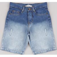 Bermuda Jeans Infantil Com Degradê E Puídos Azul Médio