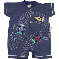 Macacão Bebê Malha Poá Híbrido Carrinhos Fórmula 1 Ano Zero - Masculino