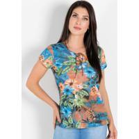 Blusa Floral Verde Com Amarração No Decote
