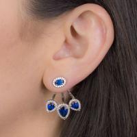 Brinco Ear Jacket Com Zircônia Azul Banhado Em Ródio Branco
