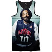 Camiseta Bsc Regata Snoop Usa Full Print - Masculino-Preto