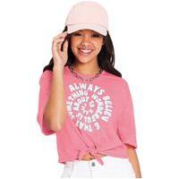Blusa Cropped Feminina Juvenil Com Nó Rovitex Teen Rosa