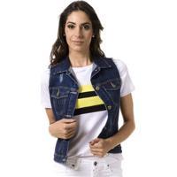 Colete Jeans Bloom Destroyed Feminino - Feminino-Azul
