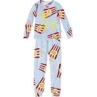 Pijama Pop Corn- Azul Claro & Vermelho- Primeiros Papuc