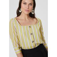 Blusa Amaro Decote Quadrado Recortes Listra Citrus - Verde - Feminino - Dafiti