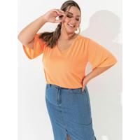 Blusa Laranja Com Mangas Amplas Plus Size