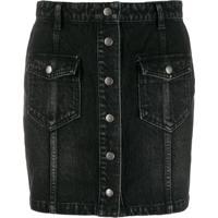 Saint Laurent Saia Jeans Com Fechamento Por Botões Frontal - Preto