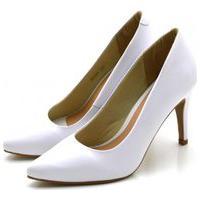 Sapato Feminino Scarpin Salto Alto Fino Em Napa Branca Lançamento