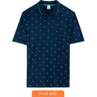 Camisa Azul Polo Geométrica Em Piquê