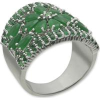 Anel Flor Cravejado Com Zircônias Verdes E Banho Em Prata