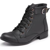 Bota Top Franca Shoes Cano Medio Feminina - Feminino-Preto