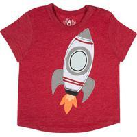 """Camiseta Mescla """"Foguete""""- Vermelha & Cinzatip Top"""