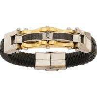 Bracelete De Aço Inox Gold Tudo Joias Com 15Mm De Largura - Unissex