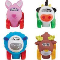 Conjunto De Carrinhos - Roda Livre - Raposa, Vaca, Ovelha E Alce - Zoo Cars - Minimi