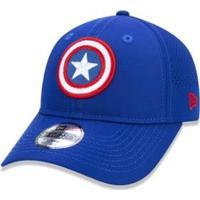 Boné New Era Juvenil 9Twenty Capitão América Marvel - Masculino-Azul