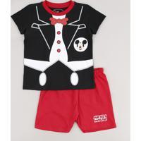 Pijama Infantil Carnaval Mickey Manga Curta Preto