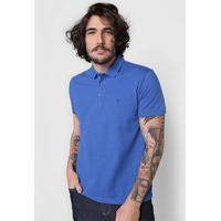 Camisa Polo Dudalina Reta Bordado Azul - Original