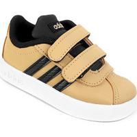 Tênis Infantil Adidas Velcro Vl Court - Unissex-Caramelo+Preto