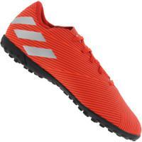 Chuteira Society Adidas Nemeziz 19.4 Tf - Adulto - Vermelho/Cinza Cla