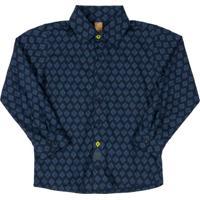 Camisa Polo Em Meia Malha Azul