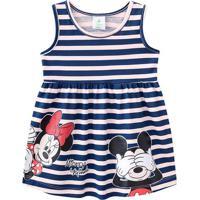 Vestido Mickey® & Minnie®- Off White & Azul Marinho-Brandili