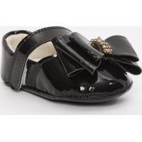 Sapato Boneca Envernizado Com Laço - Preto - Ticco Btico Baby