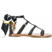 Prada Sandália Com Detalhe De Lenço - Preto