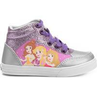 Tênis Disney Princesas Cano Alto Infantil - Feminino-Prata+Roxo