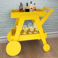 Bar/Carrinho Com Espelho Jb4004 Luxo Amarelo - Jb Bechara