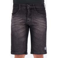 Bermuda Jeans Hd Slim Texture Preta Mescla