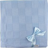 Manta De Tricot Michele Baby Para Bebê Azul Quadriculado Com Laços..