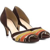Peep Toe Couro Shoestock Multicor - Feminino