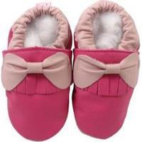 Pantufa Catz Calçados Infantil Couro Franja Laço Feminina - Feminino-Rosa