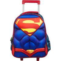 Mochila De Rodinha Infantil Superman Ic32905Sm Masculina - Masculino-Azul