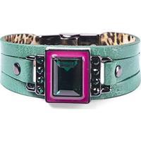 Pulseira Armazem Rr Bijoux Cristal Quadrado Feminina - Feminino-Verde+Rosa