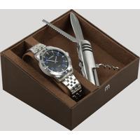 Kit De Relógio Analógico Mondaine Masculino + Canivete - 99190G0Mvne1Kb Prateado - Único