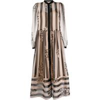 Twin-Set Striped Flared Shirt Dress - Neutro