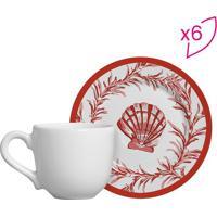 Conjunto De Xícaras De Café Conchas- Branco & Vermelha