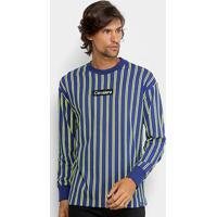 Camiseta Cavalera Manga Longa Listrada Masculina - Masculino-Listrado